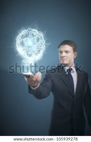 businessman with a mobile phone in hand - stock photo