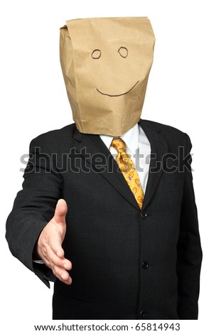 Businessman with a paper-bag over his head ready for a handshake