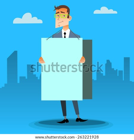 Businessman with a poster on the street and place for text