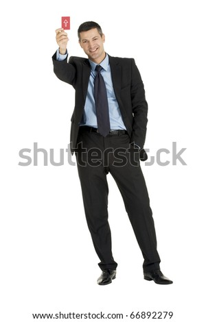 businessman with a red card