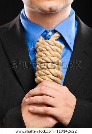 Businessman with a rope in place of a collar, tax pressure concept