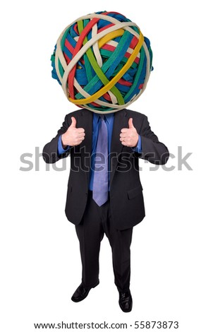 Businessman with a rubber band head and thumbs up isolated over white with a clipping path