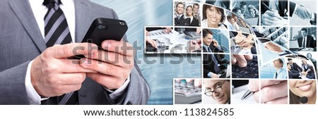 Businessman with a smartphone. Business techno background.