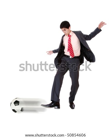 Businessman with a soccer ball isolated in white