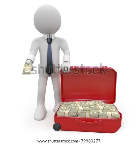 Businessman with a suitcase full of wads of cash