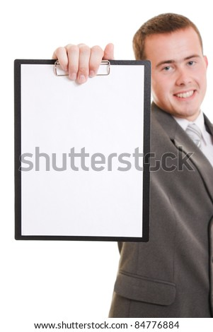 Businessman with a white board in his hands.