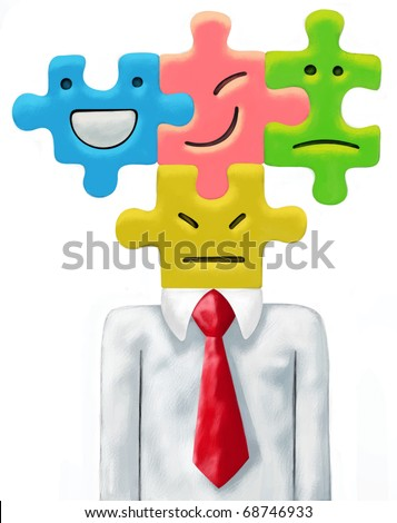 Businessman with a white shirt, red necktie. His head is made up of four colorful puzzle tiles, each showing a different emotion, face expression and connected to each other