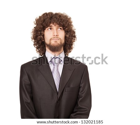 businessman with afro style hair looking up and thinking isolated on white