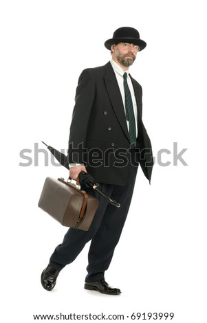 Businessman with an old bag and umbrella.