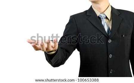 businessman with an open hand ready