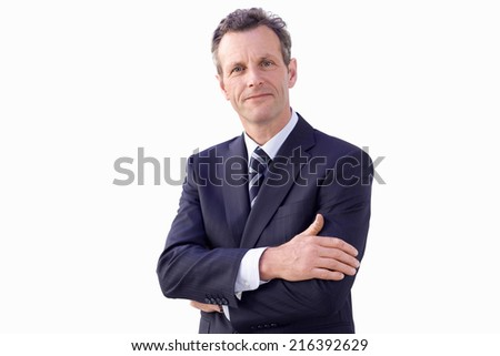 Businessman with arms crossed, smiling, portrait, cut out
