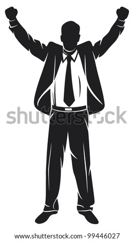 businessman with arms up celebrating (successful businessman, happy businessman, business man silhouette with his arms up enjoying his success)