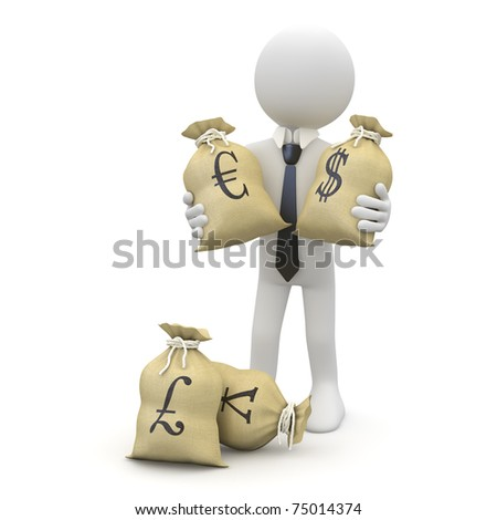 Businessman with bags of money, dollars, euros, pounds and yen