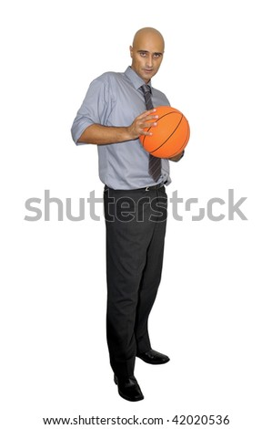 Businessman with basketball isolated in white