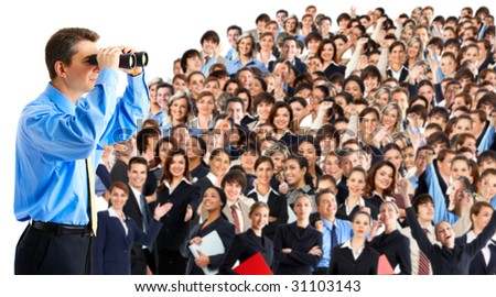 businessman  with binoculars looking at the business people