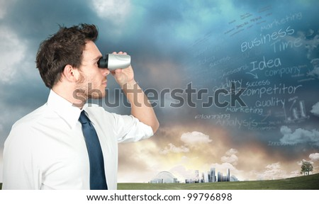 Businessman with binoculars looking for new business