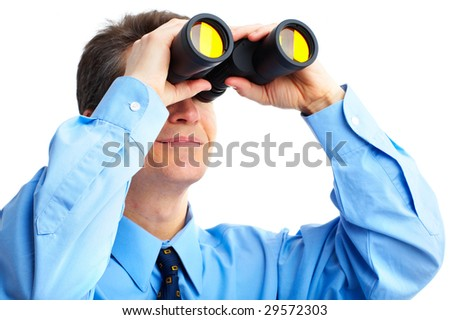 businessman  with binoculars looking to the future