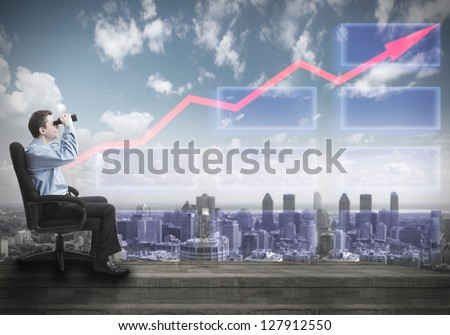 Businessman with binoculars. Over abstract urban background.