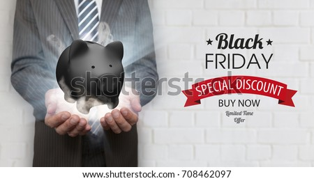 Businessman with black piggy bank, rays, smoke and text Black Friday. #708462097