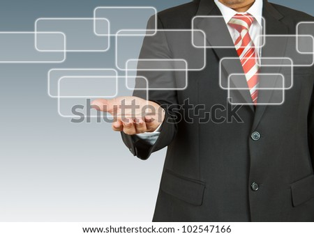 Businessman with blank rectangular