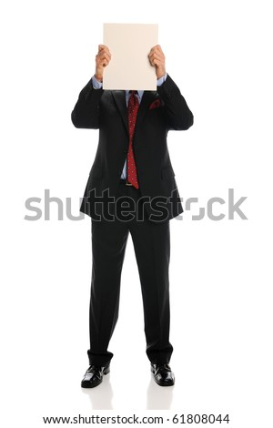 businessman with blank sign covering his face isolated on a white background