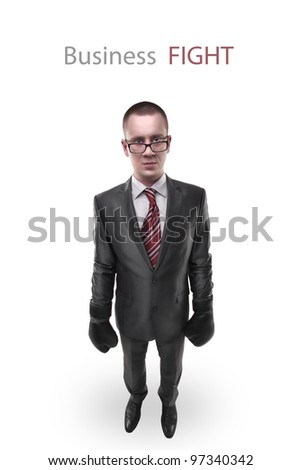 businessman with boxing gloves isolated on white background