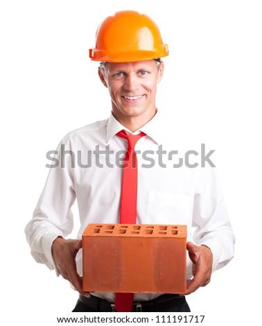 Businessman with brick