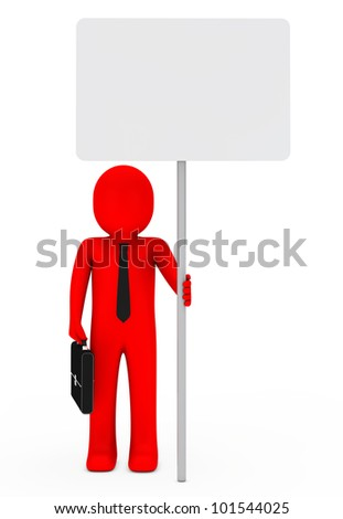 businessman with briefcase and red hold signboard