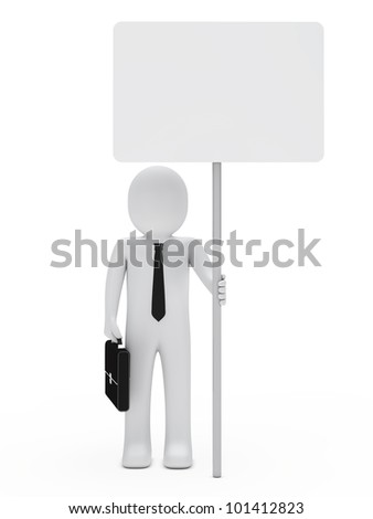 businessman with briefcase and tie hold signboard