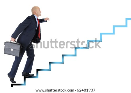Businessman with briefcase in hand, runs up the career ladder. Isolated on white background