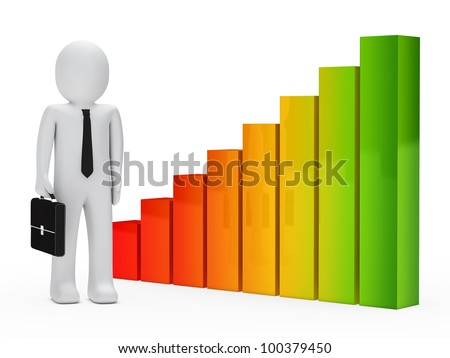 businessman with briefcase stand next a graph