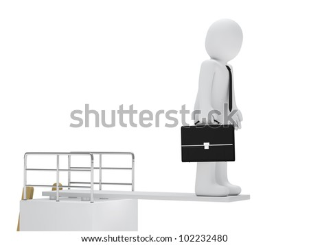 businessman with briefcase stand on a board