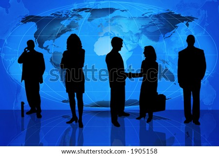 Businessman with briefcase standing in front of an earth map and other business people in silhouette