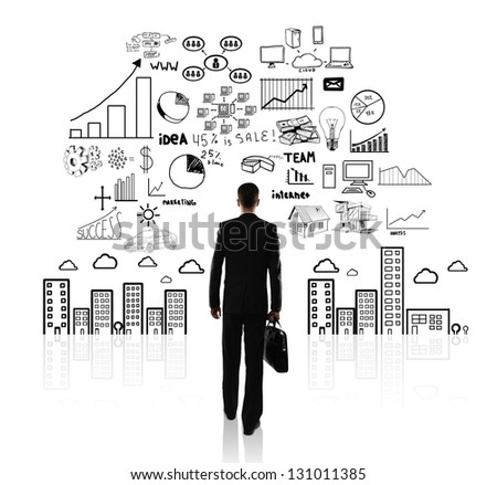 businessman with briefcase walking and business concept