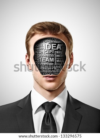 businessman with business tags inside head