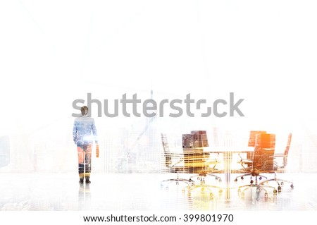 Businessman with case, meeting table, New York view. Office. Double exposure. Concept of work. #399801970