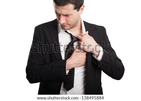 Businessman with chest pain
