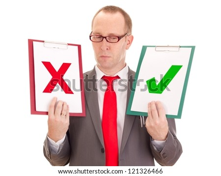 Businessman with clipboards