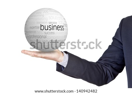 businessman with conceptual sphere in the hand