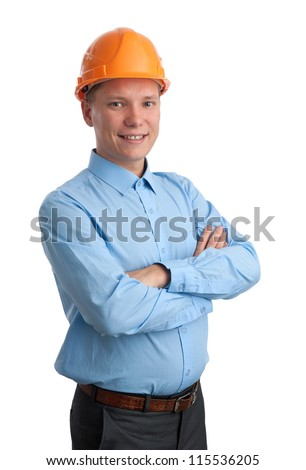Businessman with construction helmet. Isolated on white