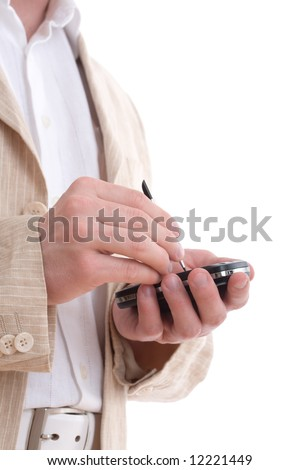 Businessman with digitized pen, touching the screen of a PDA isolated on white - stock photo