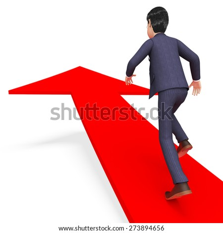 Businessman With Direction Meaning Corporate Advancement And Victory