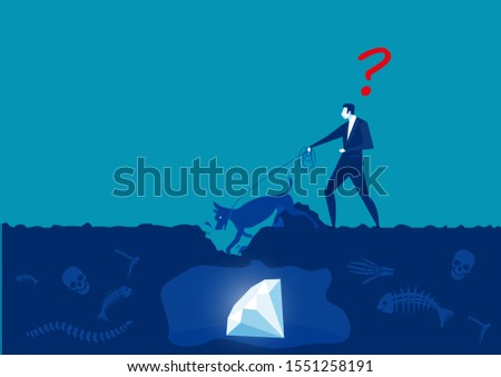 businessman with dog dig discovery diamond vector