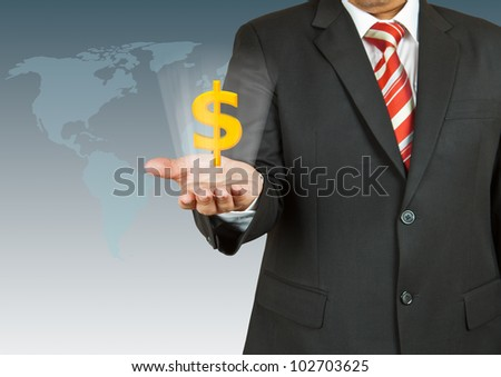 Businessman with dollar symbol over his hand