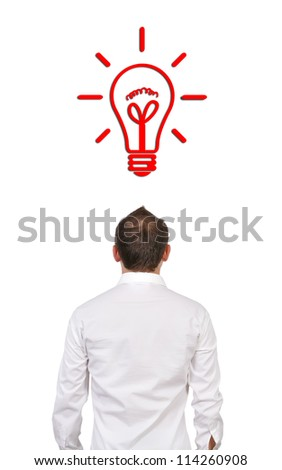 businessman with  drawing lamp over his head