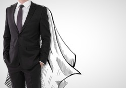 Businessman with drawn cape on white background. Leadership concept