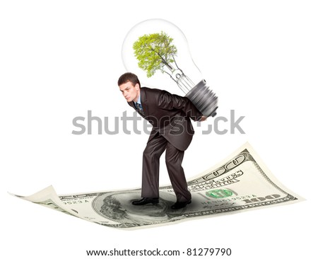 Businessman with eco lamp on back. Isolated on white background