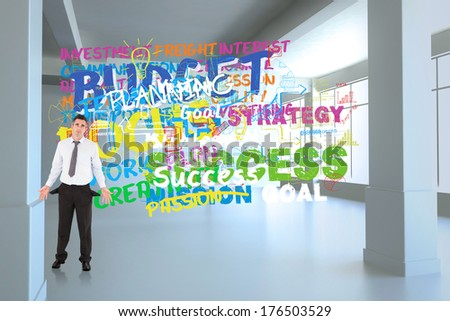 Businessman with empty pockets against buzz words in room