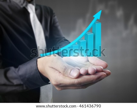 Businessman with financial symbols coming  #461436790