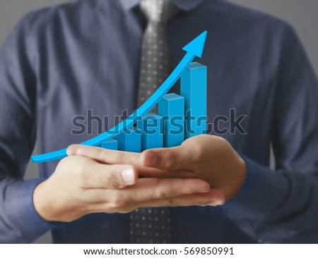 businessman with financial symbols coming from hand  #569850991